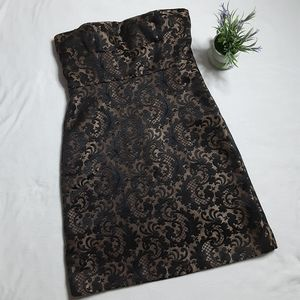 Ann Taylor Loft Gold Jaquard Brocade Dress Sz 4P